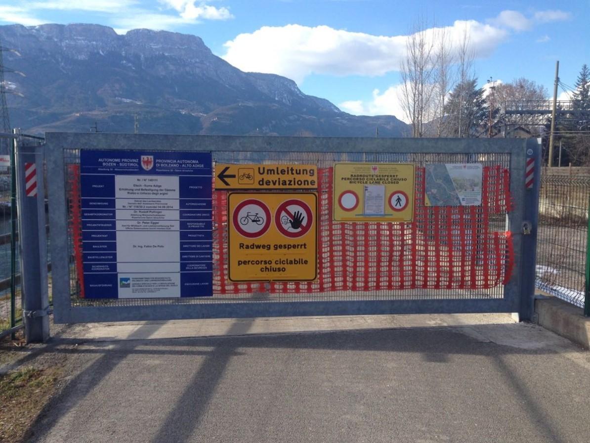 Etschradweg Südtirol vorübergehend gesperrt